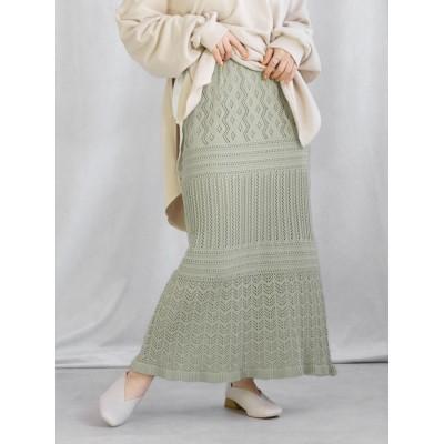 透かし編みクロシェロングスカート
