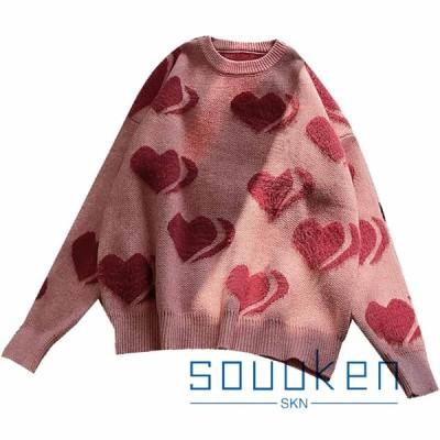 セーター レディース ハート 心形 ニット 長袖 丸首 トップス オーバーサイズ ゆったり 保温 暖かい ふわふわ ワンサイズ 秋冬