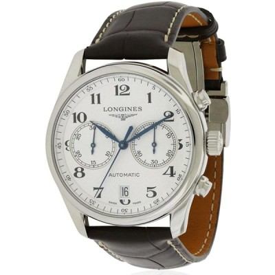 Longines Master Chronograph Silver Dial Brown Leather Mens Watch L2629