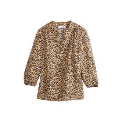 キムロジャーズ シャツ トップス レディース Women's Blouson Sleeve Animal Print Top Reuse Khaki