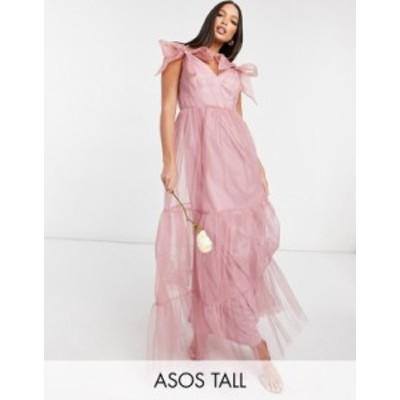 エイソス レディース ワンピース トップス ASOS DESIGN Tall tulle bow tie tiered maxi dress in rose Rose