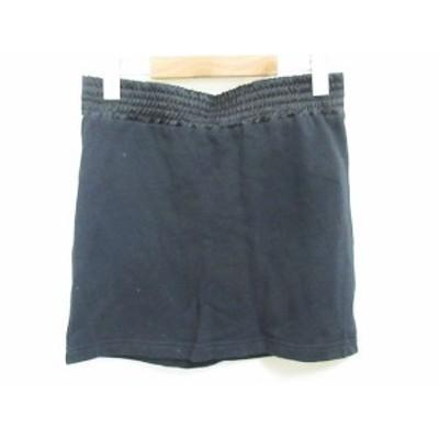 【中古】MISAKY スカート ロゴ ミニ 裏起毛 黒 XS レディース