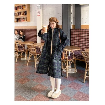 レトロ チェック柄 ロング丈 コート カジュアル アウター 2色