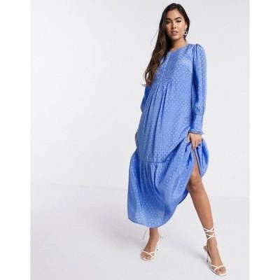ワイエーエス レディース ワンピース トップス Y.A.S maxi smock dress with front pleats in blue spot