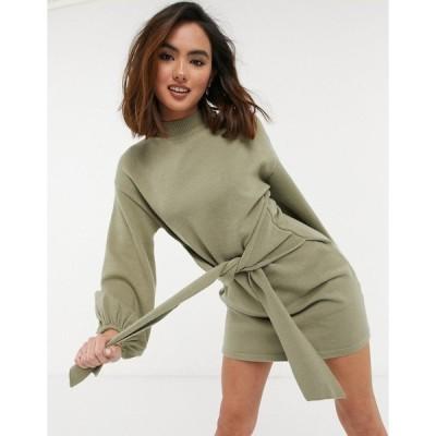 スタイル チート レディース ワンピース トップス Style Cheat balloon sleeve tie waist knitted wrap mini dress in dusty sage Sage green