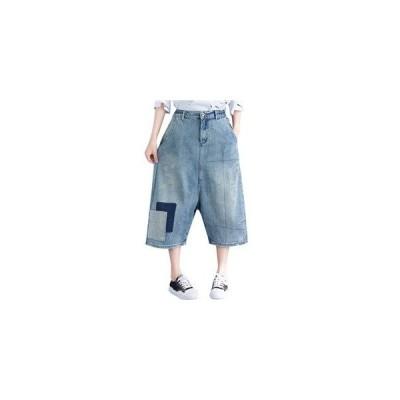デニムパンツ ワイドパンツ レディース 七分丈 切り替え ウエストゴム ゆったり 大きいサイズ 着痩せ オシャレ ファッション カジュアル  夏物 新作