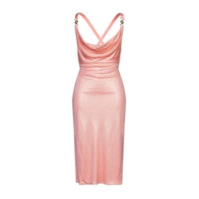 VERSACE 7分丈ワンピース・ドレス サーモンピンク 42 レーヨン 100% / シルク / ガラス / アルミニウム 7分丈ワンピース・ドレス