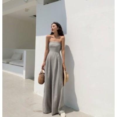 韓国 ファッション レディース オールインワン ベアトップ ワイドパンツ 夏 ハワイ リゾート ハイウエスト スリム 大人可愛い セクシー