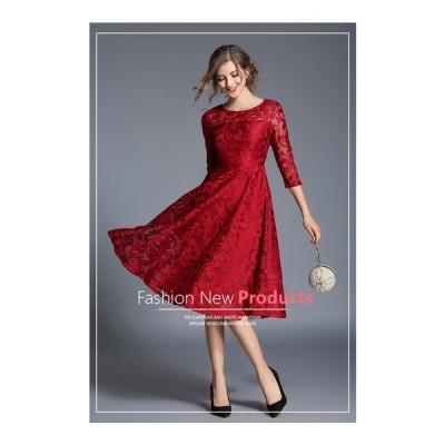 ィードレス ウェディングドレス ミニドレスイブニングドレスエレガント 七分袖大人気 上品  くりぬく 黒 ジッパー