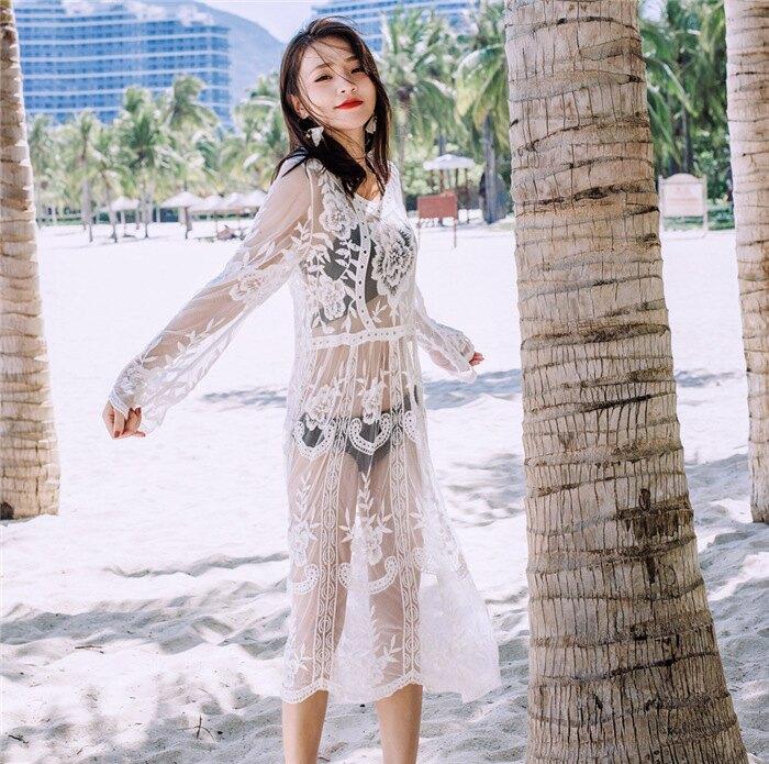 刺繡蕾絲連衣裙 長洋裝沙灘罩衫 防曬 搭配比基尼更飄逸性感 橘魔法magic 現貨 泳裝搭配【p0061192150877】