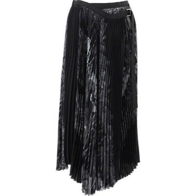 サカイ Sacai レディース スカート Pleated Skirt With Tropical Print Black