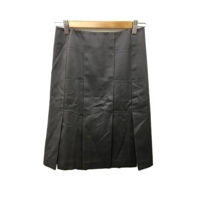 【中古】ボディドレッシングデラックス BODY DRESSING Deluxe スカート 台形 ひざ丈 スリット タック 7 グレー チャコール レディース 【ベクトル 古着】