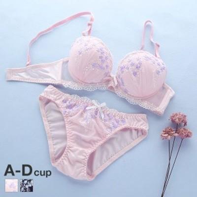 (ハニーラビット)Honey Rabbit 小花刺繍シフォン ブラジャー ショーツ セット ABCD フェミニン 小花 小さいサイズ