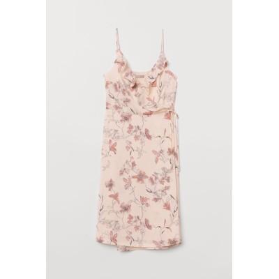 H&M - パターンラップドレス - ベージュ