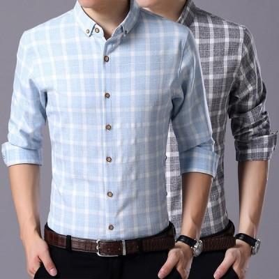 チェックシャツ 長袖 メンズ シャツ コットン カジュアル おしゃれ チェック柄 薄手 襟付き トップス  シンプル 柔らかい 着心地よい