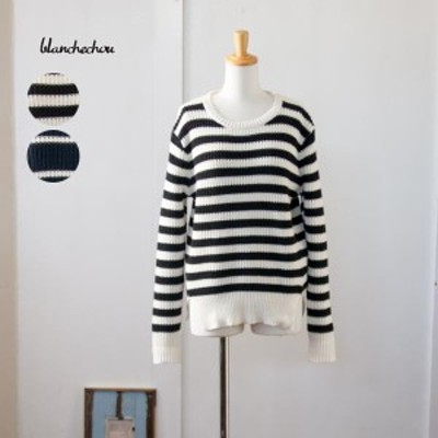 ブランシュシュ blanchechou セーター 11分袖 ボーダー レディース ファッション ナチュラル 服 ◆ ニットプルオーバー セーター 大人カ