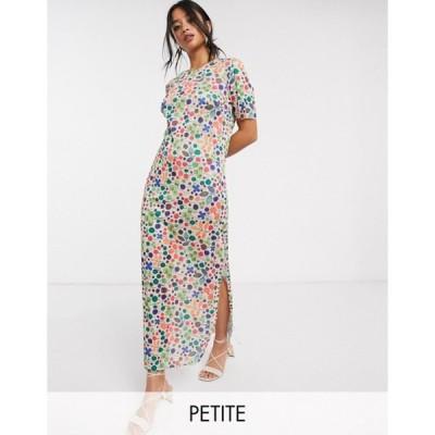 グラマラス レディース ワンピース トップス Glamorous Petite midi shift dress in floral plisse