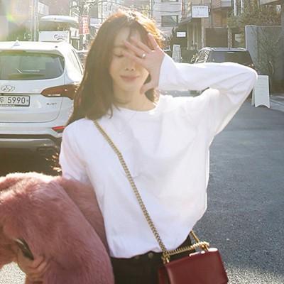 韓国ファッション長袖 Tシャツ レディース トップス 超目玉  ゆったり 韓国ファッション おしゃれ 体型カバー ロング丈 白 激安