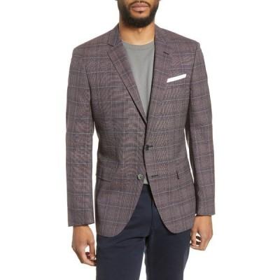ボス メンズ ジャケット&ブルゾン アウター Hutsons Trim Fit Plaid Wool Sport Coat DK RD