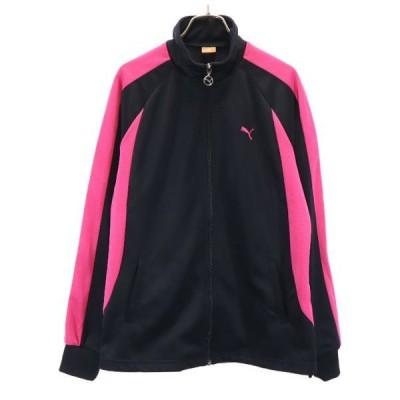 プーマ ラグラン仕様 ロゴ刺繍 ジャージ O 黒×ピンク PUMA レディース 古着 210413