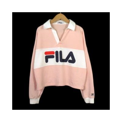 【中古】フィラ FILA ガースウェット ラガーシャツ ロゴ 長袖 F ピンク レディース 【ベクトル 古着】