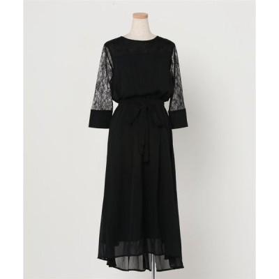 ドレス 七分袖ウエストリボン付きシフォンロングワンピースドレス