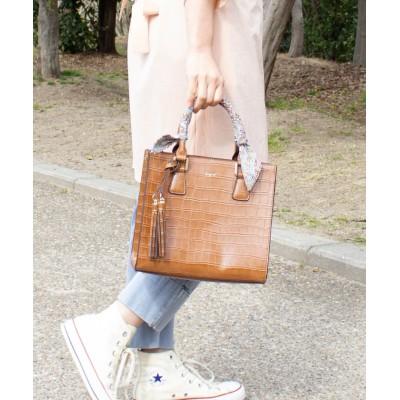 (UNGRID bag/アングリッド バッグ)スカーフ付クロコ風型押しアオリスクエアバッグ/レディース CAM