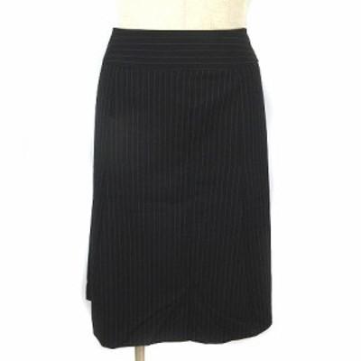 【中古】インディヴィ INDIVI スカート ひざ丈 大きいサイズ ストライプ タック フレア ネイビー 44 レディース