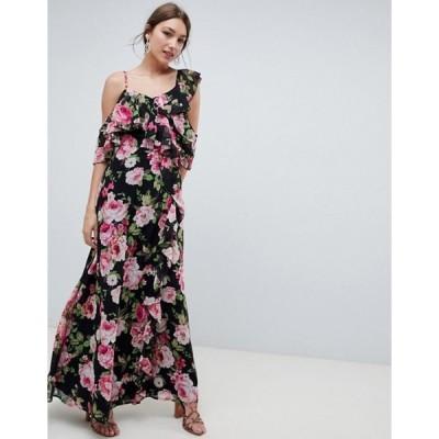エイソス レディース ワンピース トップス ASOS DESIGN Wrap Maxi Dress With Ruffles In Dark Floral Print