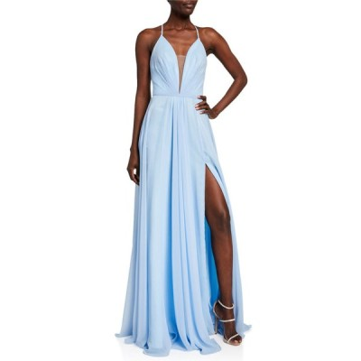 ファビアーナ レディース ワンピース トップス Sleeveless Ruched Strappy Chiffon Gown