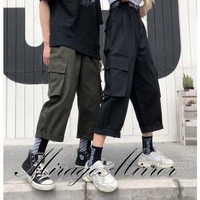 カップル七分丈ボトムス カーゴパンツ ロゴ スポーティ ユニセックス ダンス 衣装 韓国 ファッション 大きいサイズ 個性的 服 原宿系 男女兼用