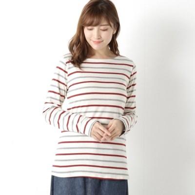 Tシャツ カットソー プルオーバー レディース 大人気商品◎袖口折り返しシャンブレーの長袖プルオーバー 「アイボリー*ボルドー*グレー」