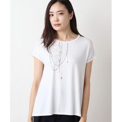 TABASA/タバサ レーヨン天竺アクセサリープリントTシャツ シロ F