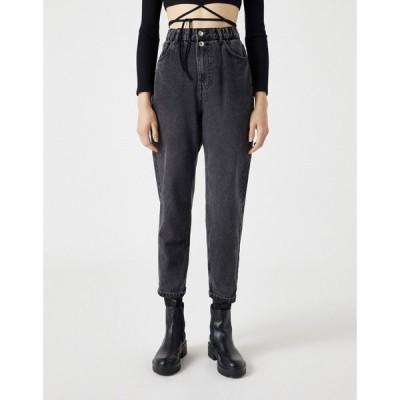 プル&ベアー Pull&Bear レディース ジーンズ・デニム ボトムス・パンツ Slouch Fit Jeans With Elasticated Waist In Black ブラック
