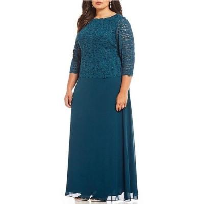 アレックスイブニングス レディース ワンピース トップス Plus Lace Bodice Mock 2-Fer Dress