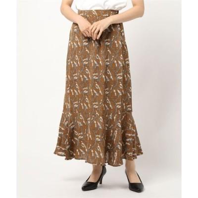 スカート ボタニカルフラワー柄マーメイドスカート