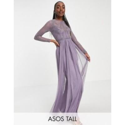 エイソス レディース ワンピース トップス ASOS DESIGN Tall embellished bodice maxi dress with tulle skirt Lilac