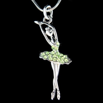 ネックレス インポート スワロフスキ クリスタル ジュエリー Green BALLERINA made with Swarovski Crystal Ballet Dancer Charm Necklace Jewelry