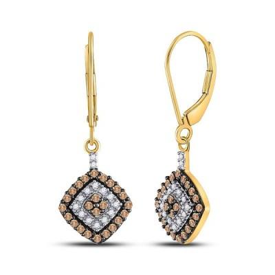 10k Yellow Gold Womens Round Brown Diamond Square Dangle Earrings 1/2