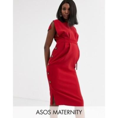 エイソス レディース ワンピース トップス ASOS DESIGN Maternity cap sleeve split sleeve midi dress with button skirt Red