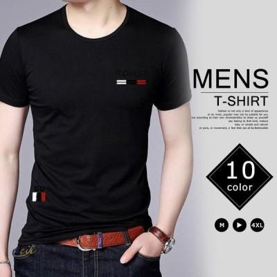 半袖Tシャツ メンズ プリント アメカジ Vネック Tシャツ ダブルタイプ Tシャツ ロングTシャツ クルーネックトップス