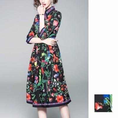 リゾートワンピース ワンピース リゾート 韓国 ファッション  夏 春 秋 カジュアル naloA824  マキシワンピース レトロ ビビッド リボン