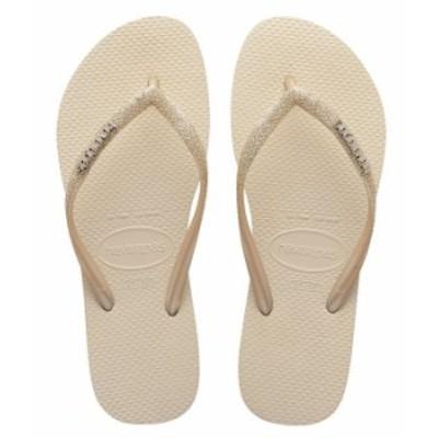ハワイアナス レディース サンダル シューズ Women's Slim Glitter Flip Flops Beige