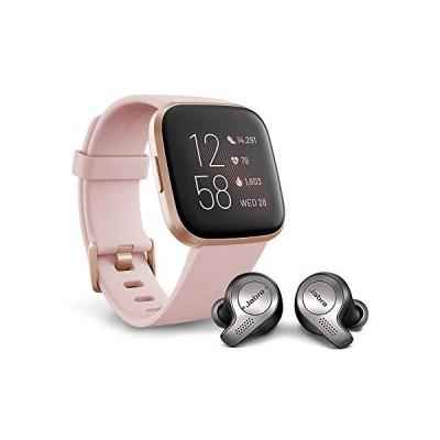 Fitbit Versa 2 Health and Fitness Smartwatch,Petal/Copper Rose with Jabra Elite 65t Earbuds, Titanium Black 並行輸入品