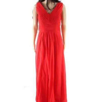 Red  ファッション ドレス Designer Brand NEW Red Womens Size 8 Pleated V-Neck Sheath Dress