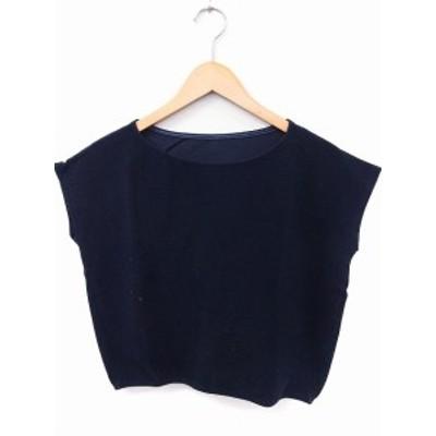 【中古】エストネーション ESTNATION Tシャツ カットソー 丸首 フレンチスリーブ コットン 綿 38 紺 /FT16 レディース