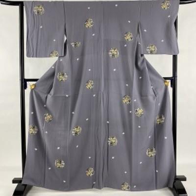小紋 美品 秀品 雪輪 桜の花びら 金彩 灰紫 袷 身丈166.5cm 裄丈65cm M 正絹 中古