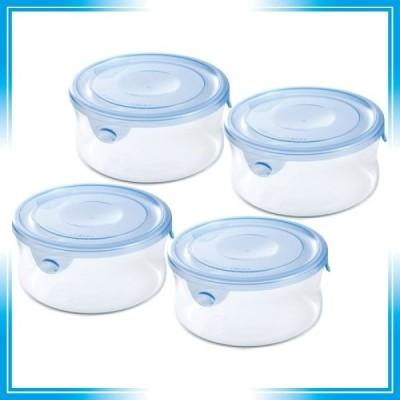 iwaki(イワキ) 耐熱ガラス 保存容器 アクアブルー 丸型 S 380ml 4個セット ごはん 1膳 パック&レンジ KBT7401BLN