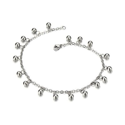 Stainless Steel Anklet Bracelet with Dangling Charms of Balls