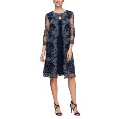 アレックスイブニングス レディース ワンピース トップス Short Embroidered Elongated Mock Jacket Dress